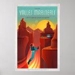 Mars Valles Marineris Space Tourism Illustration Poster