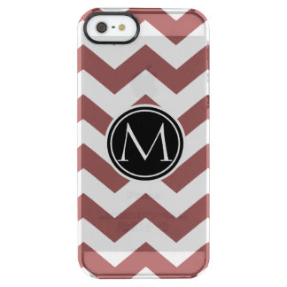 Marsala Chevron Monogrammed Clear iPhone SE/5/5s Case