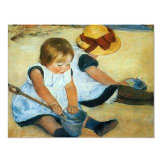 Mary Cassatt's Children on the Beach  (1884) 11 Cm X 14 Cm Invitation Card