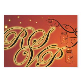 Mason Jar and Firefly Double Sided RSVP Orange 9 Cm X 13 Cm Invitation Card