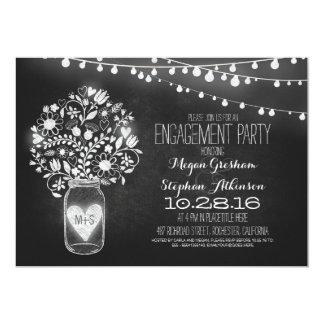 mason jar chalkboard & lights engagement party 13 cm x 18 cm invitation card