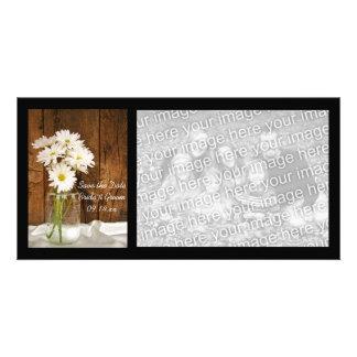 Mason Jar White Daisies Barn Wedding Save the Date Photo Greeting Card