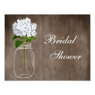 Mason Jar & White Hydrangea Rustic Bridal Shower 11 Cm X 14 Cm Invitation Card