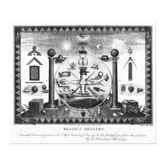 Masonic Emblems Chart from 1874 Gallery Wrap Canvas