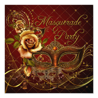 Masquerade Party Red Masks Gold Black Birthday 13 Cm X 13 Cm Square Invitation Card