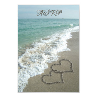 Matching RSVP Card, Two Sand Hearts Beach Wedding 9 Cm X 13 Cm Invitation Card