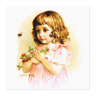 Maud Humphrey: Summer Girl with Flowers and Bee Canvas Print
