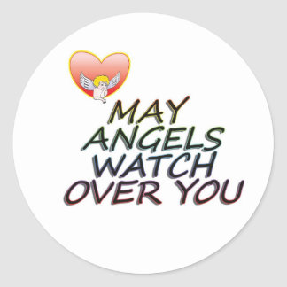 MAY ANGLES WATCH OVER YOU ROUND STICKER