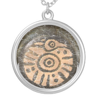 Mayan Bird Round Pendant Necklace