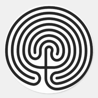 maze, cretan labyrinth round sticker