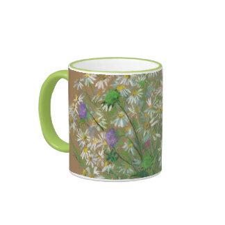 """Meadow Flowers"", pastel painting, white daisies Ringer Mug"