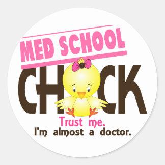 Med School Chick 3 Round Sticker