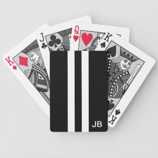 Men Black and White Monogrammed Playing Cards
