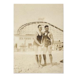 Men Standing on Beach 13 Cm X 18 Cm Invitation Card