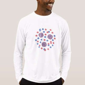Men's long sleeve T-shirt with red-blue balls