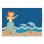 Mermaid and dolphins birthday party greeting card