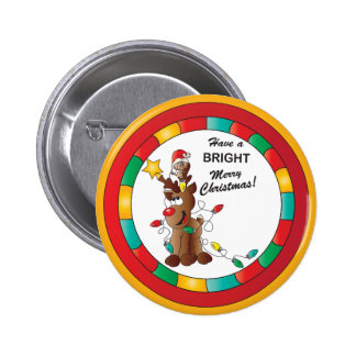 Merry and Bright Reindeer and Christmas Mouse 6 Cm Round Badge