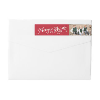 Merry and Bright | Script Christmas Wraparound Return Address Label