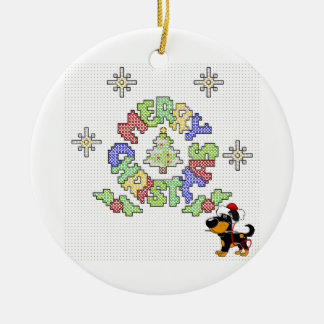 Merry Christmas Cross Stitch by Pup Round Ceramic Decoration