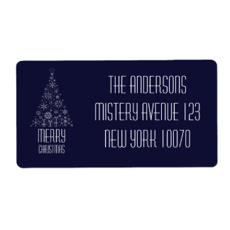 Merry Christmas Dark Blue Tree Shipping Label