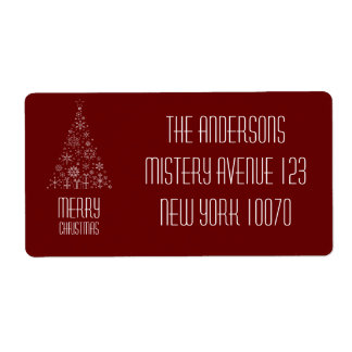 Merry Christmas Dark red Tree Shipping Label