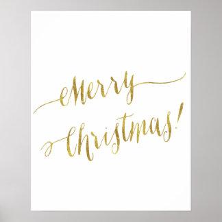 Merry Christmas Faux Gold Foil Script Lettering Poster
