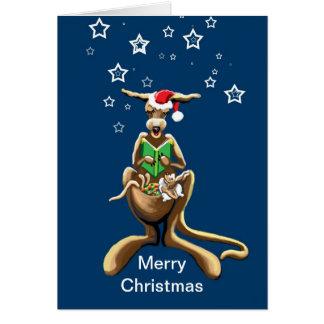 Merry Christmas kangaroo and joey Greeting Card