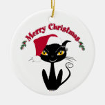 Merry Christmas Kitty Cat Round Ceramic Decoration