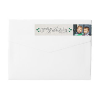 Merry Christmas | Photo Return Address Wraparound Return Address Label