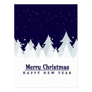 Merry Christmas Pines Blue customizable Postcard