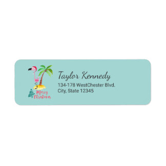 Merry Christmas Pink Flamingo With Palm Tree Return Address Label