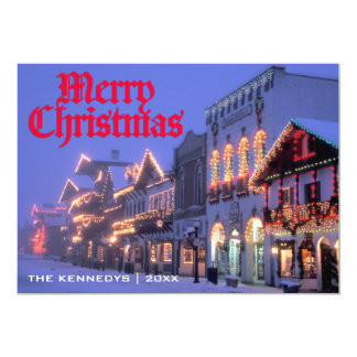 Merry Christmas - Street Christmas lights at night 13 Cm X 18 Cm Invitation Card