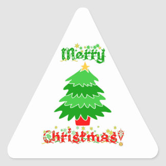 Merry Christmas Triangle Sticker