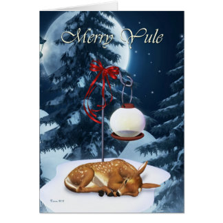 Merry Yule Sleeping Fawn Holiday Card