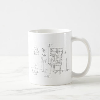 Messy room with a city view basic white mug