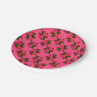 Metal Poinsettia Flowers-11-PINK-GOLD-PAPER PLATES 7 Inch Paper Plate