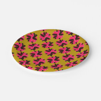 Metal Poinsettia Flowers-16-PINK-RED-PAPER PLATE 7 Inch Paper Plate