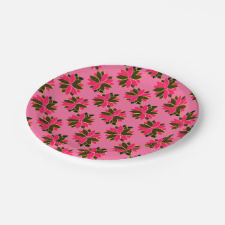 Metal Poinsettia Flowers-17-PINK-GOLD-PAPER PLATE 7 Inch Paper Plate
