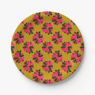 Metal Poinsettia Flowers-18-PINK-GOLD-PAPER PLATE 7 Inch Paper Plate