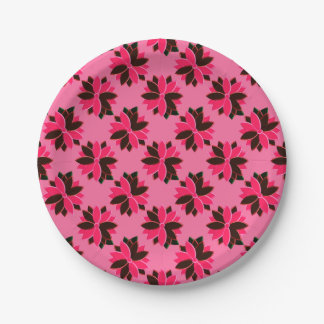 Metal Poinsettia Flowers-9-PINK-RED-PAPER PLATES 7 Inch Paper Plate
