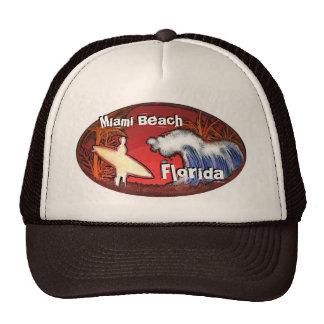 Miami Beach Florida surfer waves art hat