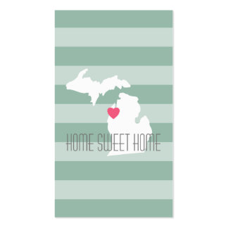 Michigan Map Home State Love with Custom Heart Pack Of Standard Business Cards