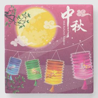 Mid Autumn Festival Background Stone Beverage Coaster