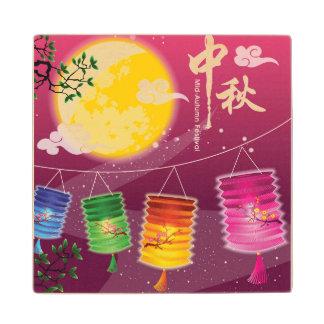 Mid Autumn Festival Background Wood Coaster