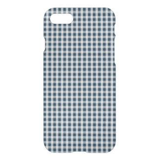 Midnight Blue Gingham Check Pattern iPhone 7 Case