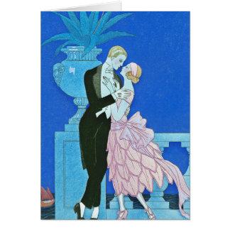 Midnight Kiss Art Deco Greeting Card