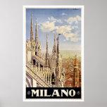 Milano Italy Church Vintage Travel Poster