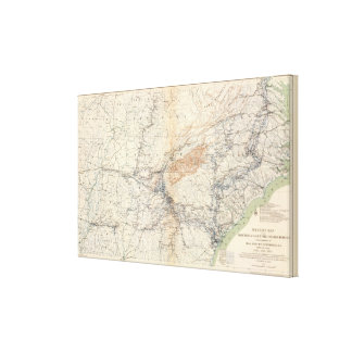 Military map, WT Sherman Stretched Canvas Print