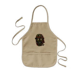 military zombie with knife in mouth kids apron