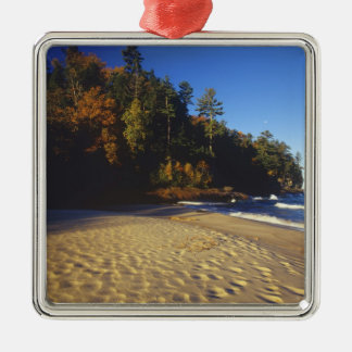 Miners Beach at Pictured Rocks National Silver-Colored Square Decoration
